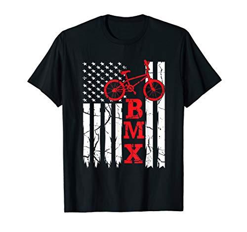 BMX USA American Flag T-Shirt Cycling Halfpipe Bike