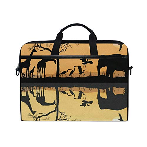 (Savana Giraffes Herons and Elephant Laptop Bag Travel Briefcase with Organizer Water Resisatant with Adjustable Shoulder Strap for Men and Women Fits 14 Inch to 15.6 Inch Laptop,Computer,Tablet)