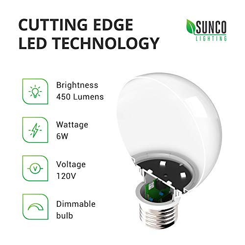 Sunco Lighting 4 Pack G25 LED Globe, 6W=40W, Dimmable, 450 LM, 3000K Warm White, E26 Base, Ideal for Bathroom Vanity or Mirror - UL & Energy Star