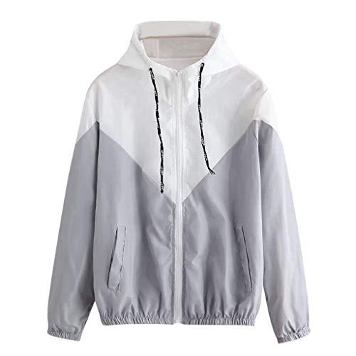 kaifongfu Women's Thin Patchwork Long Sleeve Pullover with Zipper Pockets Sport Coat Gray (Kleidung Kurze Frauen)