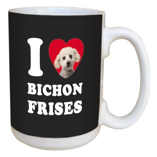 (Tree Free Greetings LM45011 I Heart Bichon Frises Ceramic Mug with Full-Sized Handle, 15-Ounce)