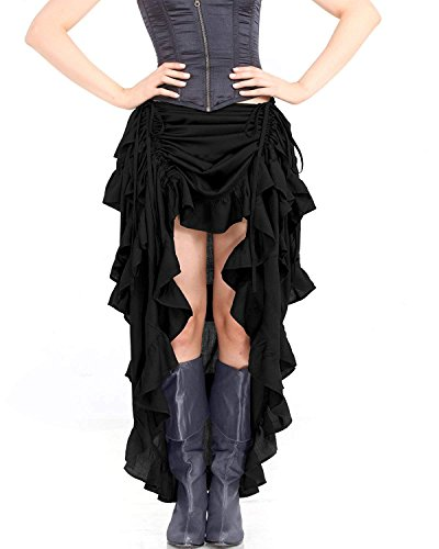 ThePirateDressing Steampunk Victorian Gothic Womens Costume Show Girl Skirt (Black) (Large)
