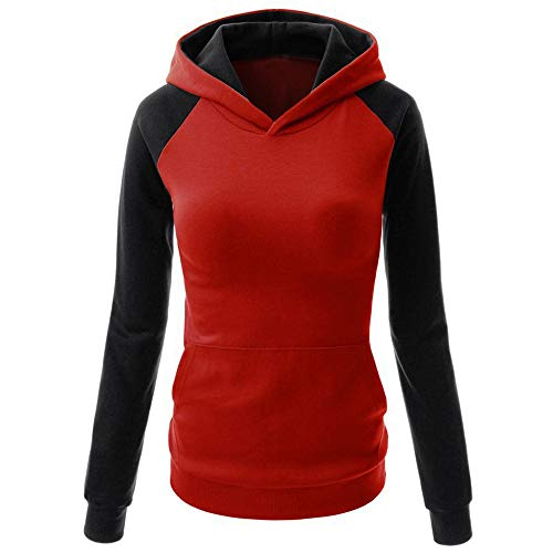 Crop Tops For Women,Kulywon Clearance Sale!Fashion Womens Color Block Pocket Casual Long Sleeve Pullover Sweatshirt Blouse(S/US 4,Red )