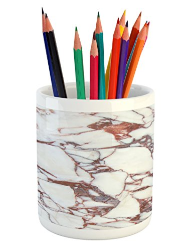 Ambesonne Marble Pencil Pen Holder, Dolomite Rocks Pattern with Characteristic Swirls and Cracked Lines Abstract Art, Printed Ceramic Pencil Pen Holder for Desk Office Accessory, Beige Brown ()