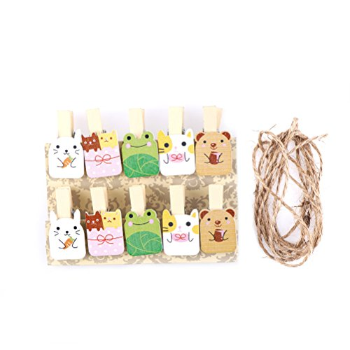 Clips Kawaii - 10pcs Mini Car Bee Egg Wooden Clips With Hemp Rope Party Decoration Nice Food Clip Kawaii Wood - Car Wooden Party Plush Birthday Cat Kitchen Tree Bee Home Party Kitchen Toy B ()