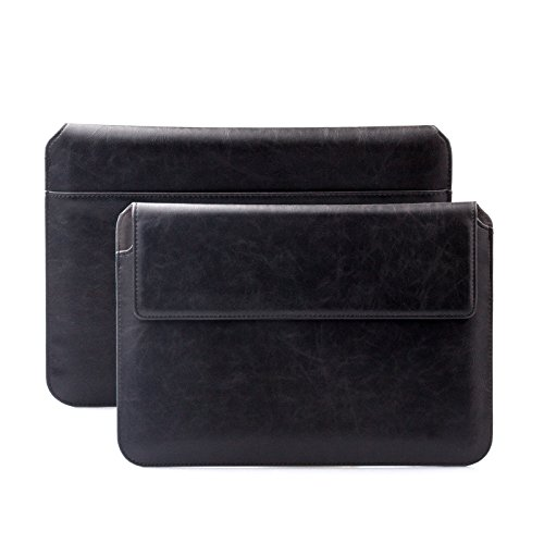 iCues Case Compatible with Apple iPad PRO 12.9 Case Sleeve Bag | suitably for from 10.1 to 12.9 inches Tablet Laptop Notebook | Buffalo Black | iCues Piquante Wallet | Leather Envelope