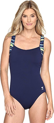 TYR Women's Bellvue Stripe Square Neck Control Fit Swimsuit, 18, 405 - Chlorine Swimwear Proof