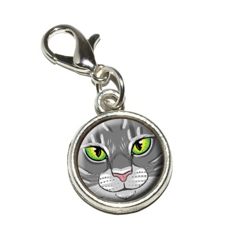 - Graphics and More Grey Gray Tabby Cat Face Pet Kitty Antiqued Bracelet Pendant Zipper Pull Charm with Lobster Clasp