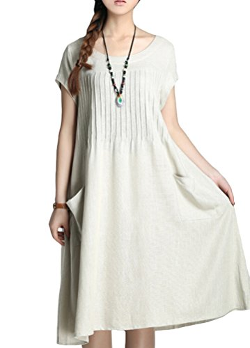 Minibee Women's Summer Solid Color Dress with Two Pockets Style 1 Beige XL 2 Pocket Linen Tunic