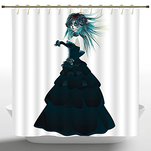 Decorative Shower Curtain by iPrint,Girly Decor Collection,Sugar Skull Girl with Prom Dress Roses in Hand Gothic Halloween Lady Zombie Vampire Image,Green White,Waterproof Bathroom Shower Curtains