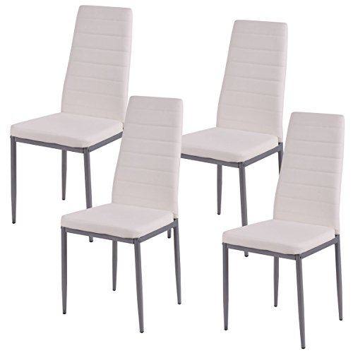 Design White Leather (COSTWAY Elegant Design PU Leather Dining Side Chairs Home Furniture,White,Set of 4)