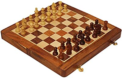 """Crafkart Travel Chess Set - 14"""" Magnetic Wooden Folding Board - Portable Chess Game Handmade in Fine Wood with Storage for Chessmen"""