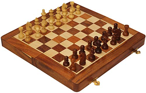 """Christmas & Year End Deals on Crafkart Travel Chess Set with Extra Queen - 10.5"""" Magnetic Wooden Folding Board - Portable Chess Game Handmade in Fine Wood with Storage for Chessmen"""
