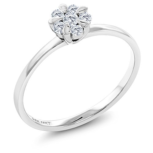 18K Solid White Gold White Diamond Flower Blossom Women's Engagement Ring (Available in size 5, 6, 7, 8, 9)