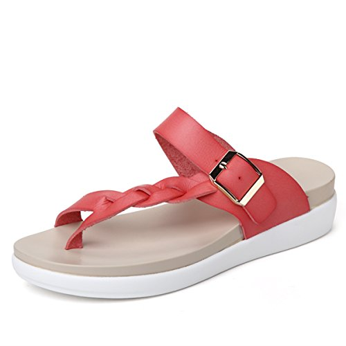 Summer Open Sandals Pink Toes Beach Women's Zicoope Flat 56Rwtnq