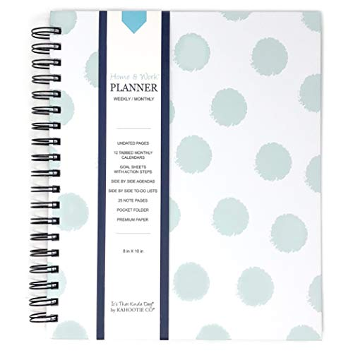 Home & Work Weekly Planner- Combines Your Home and Work Planner into one Stylish Solution. (Teal Polka Dots) (Best Planner For Working Mom 2019)