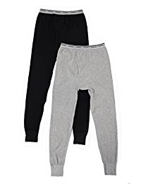 Fruit of the Loom Men's 2 Pack Classic Midweight Waffle Thermal Bottoms,