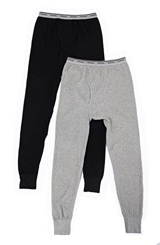 Fruit of the Loom Men's Classic Midweight Waffle Thermal Underwear Bottoms (1 & 2 Packs), Light Grey Heather/Black Soot (2 Pack), Medium
