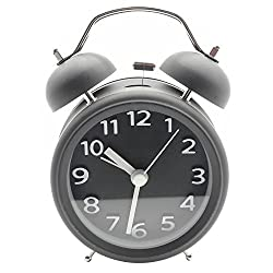 Innolife 3 Quiet Non-ticking Silent Quartz Analog Retro Vintage bedside Twin Bell Alarm Clock With Loud Alarm and Nightlight (3D Number Black)