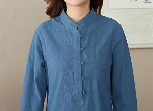 Veste Longue en Tang Style Rtro Coton Manche Chanvre Chinois de de Blouse Bleu avec Traditionnel ACVIP TpRSxqwx