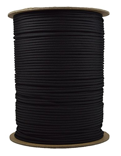 1000 Foot Spools of Parachute 550 Cord Type III 7 Strand Paracord Black (Cord Spool Parachute)
