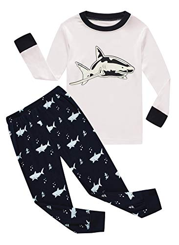 Family Feeling Little Boys Shark Pajamas Sets 100% Cotton Kid Pjs 6 ()