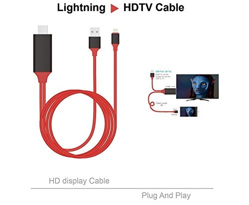 2M Lightning to HDMI - Plug and Play / No need Wifi / 8-Pin MHL Cable Adapter 1080P for iPhone 7 and 7 plus and iPad air/mini