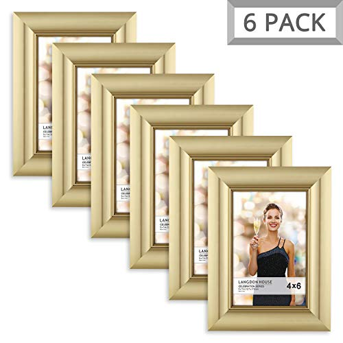 Langdons 4x6 Picture Frame (6 Pack, Gold), Gold Photo Frame 4 x 6, Wall Mount or Table Top, Set Of 6 Celebration Collection]()