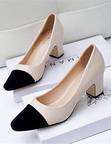 pu Almendra 5 us8 us5 Uk6 tacones Blanco Eu36 tacn Eu39 Robusto Cn39 White casual Mujer negro tacones Uk3 Black Zapatos Cn35 5 Ggx De qTPf8f