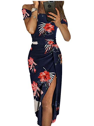 Ouregrace Womens Off Shoulder Metallic Glitter Ruched High Slit Evening Party Cocktail Dress (Red Floral Print, (US 12-14) L)