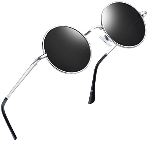 Joopin-Round Retro Polaroid Sunglasses Driving Polarized Sun Glasses Men Steampunk Vintage (Silver ()