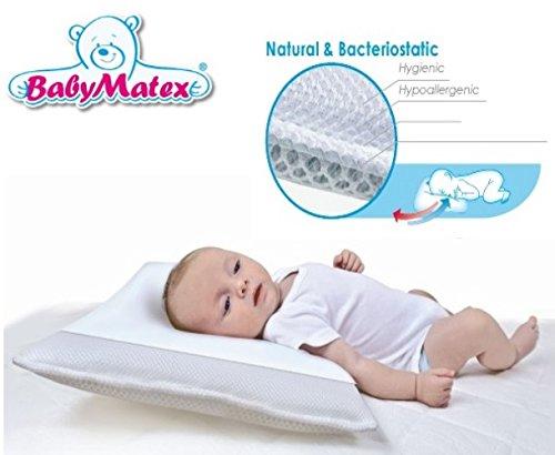 BabyMatex ** AERO 3D Babykopfkissen inkl. Bezug ** Atmungsaktives antiallergisches Kopfkissen **