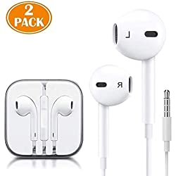 (2 Pack) Aux Headphones/Earphones/Earbuds 3.5mm Wired Headphones Noise Isolating Earphones with Built-in Microphone & Volume Control Compatible with Phone 6 SE 5S 4 Pod Pad Samsung/Android MP3