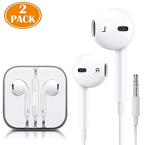 (2 Pack) Aux Headphones/Earphones/Earbuds 3.5mm Wired Headphones Noise Isolating Earphones with Built-in Microphone & Volume Control Compatible with Phone 6 SE 5S 4 Pod Pad Samsung/Android MP3 ()