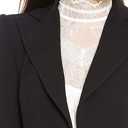 Schwarz Elegante Manica Trench Giacca Fit Lunga Invernali Asimmetrica Slim Donna Classiche Vintage Donne Giaccone Cappotti Fashion fwZFBq
