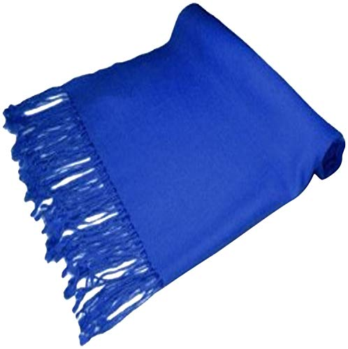 Royal Blue Solid Color Design Nepalese Shawl Scarf Wrap Stole Throw Pashmina CJ Apparel NEW