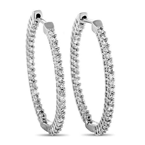 - 14K White Gold Full Diamond Pave Inside Out Oval Hoop Earrings