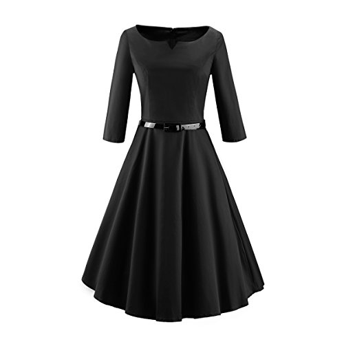 LUOUSE-Womens-50s-Vintage-Elegant-Boat-Neck-34-Sleeve-Rockabilly-Party-Bridesmaid-Swing-Dress