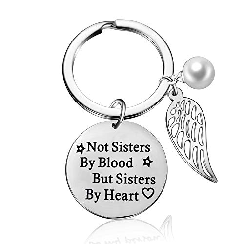 (Not Sisters by Blood But Sisters by Heart Keychain Women BFF Keyring Friendship Jewelry Best Friends Key Chain Birthday Gift Wing Charm (Style-1))
