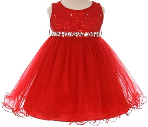 Baby Girls Sequin Stone Lace Shiny Tulle Easter Infant Flowers Girls Dresses Red XL (M3B4K0)