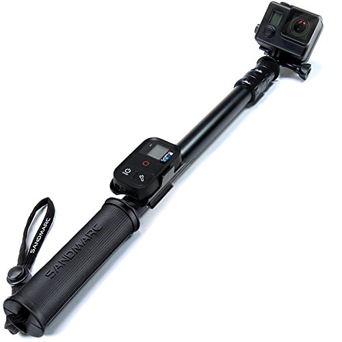 SANDMARC Pole – Black Edition: 17-40″ Waterproof Telescoping Extension Pole (Selfie Stick) with Remote Clip (Mount) for GoPro Hero 5, Hero 4, Session, 3, 2, and HD Cameras