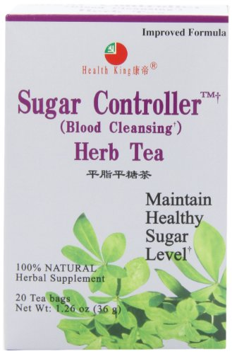 Diabetes Tea - Health King Sugar Controller Herb Tea, Teabags, 20-Count Box (Pack of 4)