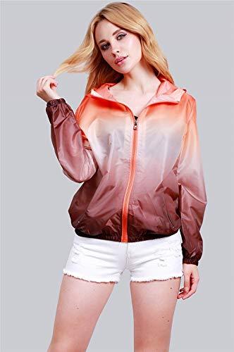 Jacket Coat Casuales Proteccion Otoño Con Solar Primavera Cremallera Outerwear Adelina Abrigo Capa Outdoor Larga Mujer Naranja Chaqueta Manga Hipster Capucha Bolsillos Abrigos IxTwYPwF