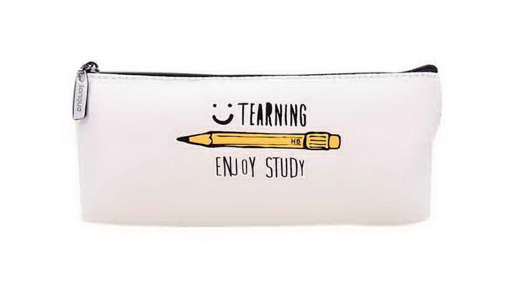 Classic Stationery Storage Case Enjoy Study Boat Shape Pencil Case C Style White Gentle Meow