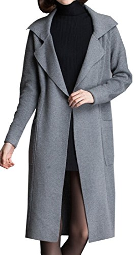 Galsang Women's Thickened Long Knit Cardigan Sweater#mg888 (M, Gray)