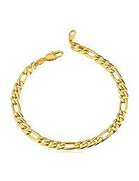 U7 Men Stainless Steel Figaro Chain Link Bracelet Fashion Jewelry,5MM-12MM
