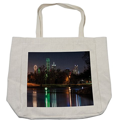 Lunarable USA Shopping Bag, Dallas City Skyline Reflected in a Lake Park with Trees at Night Landscape Scenery, Eco-Friendly Reusable Bag for Groceries Beach and More, 15.5
