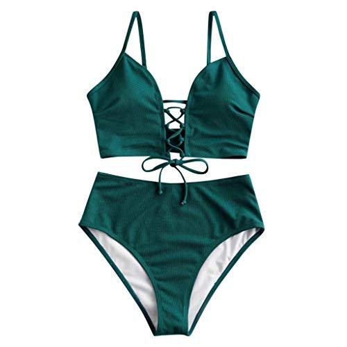 Kiminana Women Summer Sexy Solid Color Cross Lace-up Bra+Floral Print Bottom Bikini Set Beach Fashion Two Piece Swimsuit Green