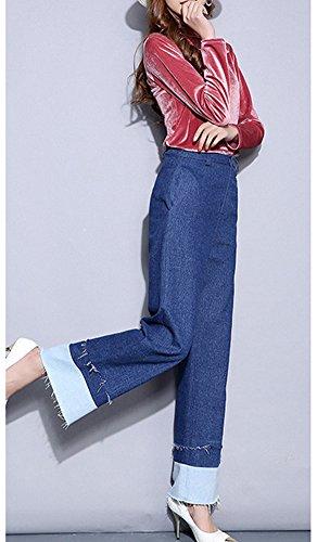 Alta Bootcut Suelto Pantalones Mujer Pantalon Cintura Ajuste Boyfriend Mezclilla Casual Vaqueros Azul De Jeans zxfwnH86f