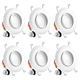 Luxrite 5/6 Inch Gimbal LED Recessed Light, 15W, 3000K Soft White, Dimmable LED Downlight, 1010 Lumens, Energy Star & ETL Listed, CRI 90, Damp Location - Adjustable Recessed Lighting (6 Pack)